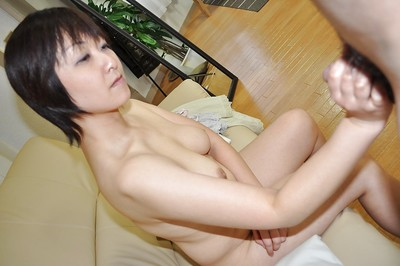 Japanese MILF Masae Shimatani gives head and obtains her curly snatch cocked up