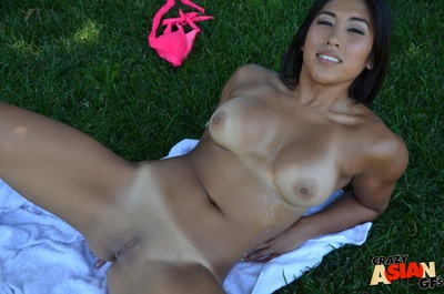 Oriental juvenile Mia swallowing POV weenie outdoors in advance of cum flow on love bubbles
