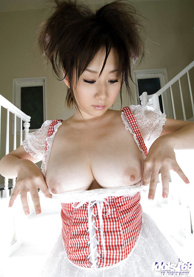 Satisfying Japanese coed Hanano Nono showcasing her colossal wobblers and undersize fanny