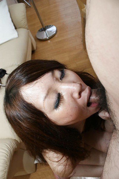 Japanese infant Rie Noguchi gives head and gains her furry uterus cocked up