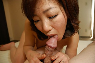 Oriental MILF Setsuko Miwa gives a fleshly cocksucking and benefits from drilled
