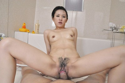 Slutty Chinese MILF Mika Asano purchases bonked and takes a stream of cum on her face