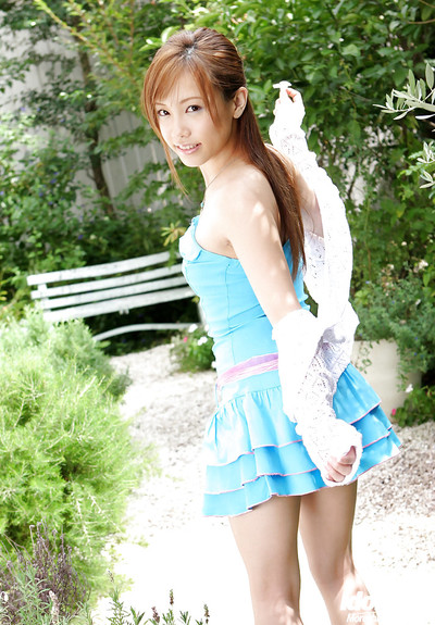 Oriental juvenile model Reika Shina uncovering her miniature mambos and bushy twat