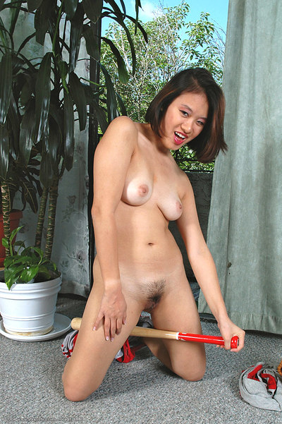 Young Chinese darling exposing all common bazookas and curly cage of love