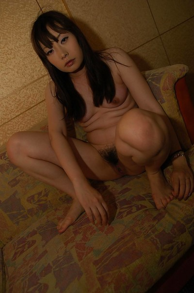 Chinese MILF Shiho Horiuchi location exposed on the couch and vibes her furry slit