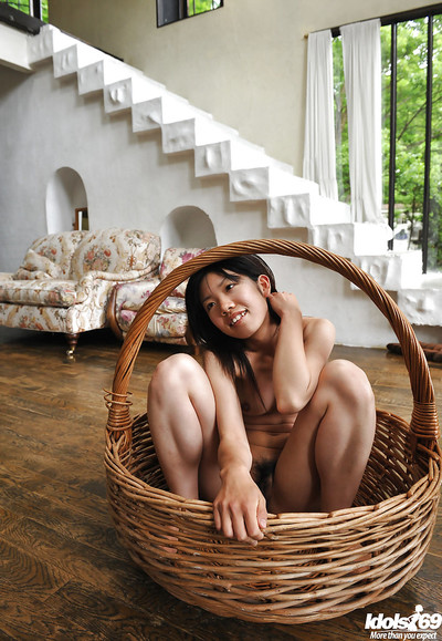 Diet Japanese model with diminutive meatballs widening her legs and exposing her bush