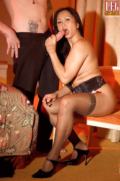 Leggy Chinese woman servant Kitty Langdon taking in and riding penis in  and heels