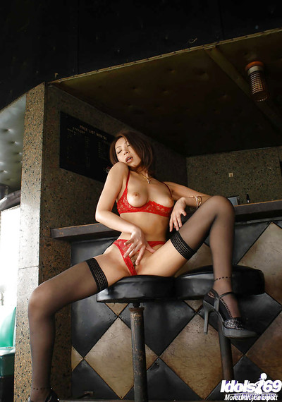 Japanese lady in underware and  Jun Kusanagi slipping off her strings