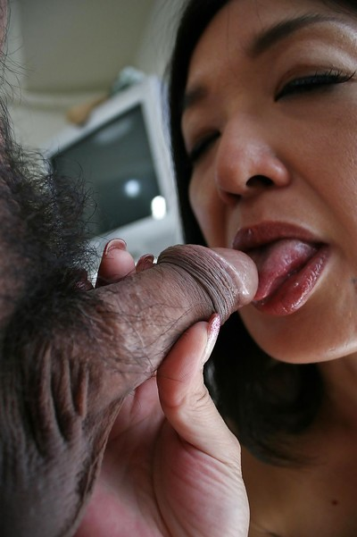 Japanese shrew Chiyo Yamabe gives a dick sucking and gains her shaggy love-cage shafted