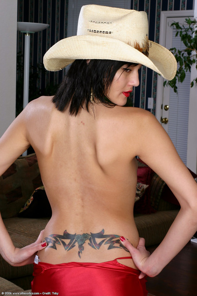 Oriental 1st timer flaunting miniscule milk cans and expand fur pie in cowgirl hat