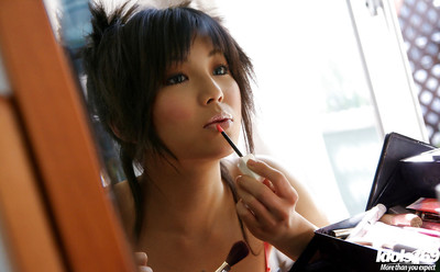 Beautiful eastern model Azumi Harusaki exposing her extraordinary milk shakes and  poon