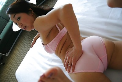 Japanese MILF Mariko Yoshizawa undressing and demonstrating her slit in close up