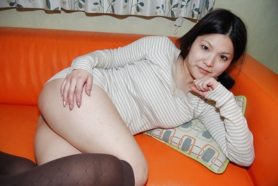 Sassy Japanese cutie in nylon knee socks stripped off and has some bawdy cleft vibing getting pleasure