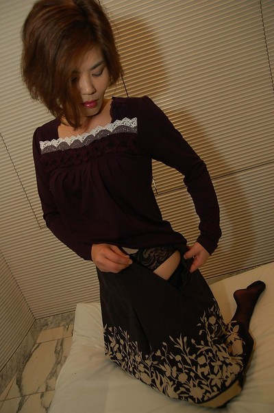 Oriental lady Chika Ohara obtains rid of her clad and positions in wild nylons