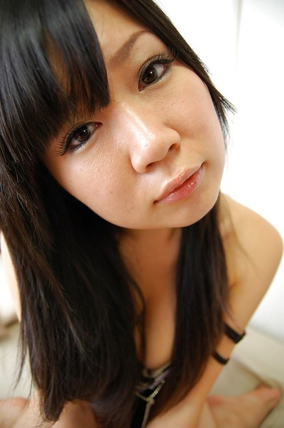 Smiley eastern young Miharu Kase undressing and swelling her lower than lips