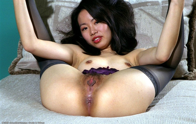 Stocking garbed Chinese youthful baring bushy gentile for hottie photo release