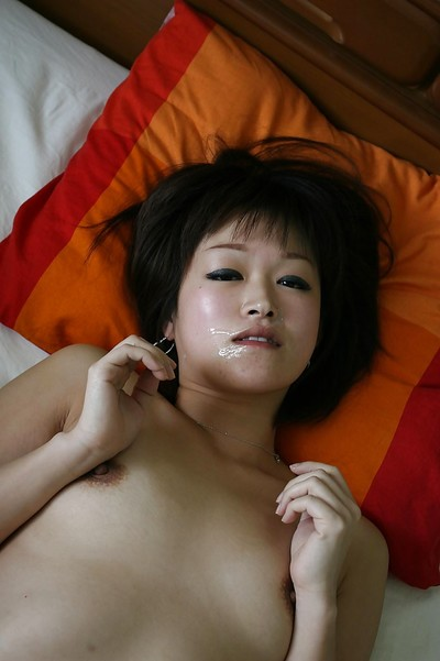 Concupiscent Japanese MILF gives head and benefits from shafted for a facial