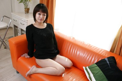 Sassy Japanese MILF with  fur pie undressing and widening her legs