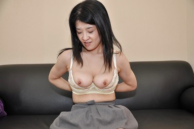 Oriental MILF Satoko Miyazawa erotic dance down and playing with dildos
