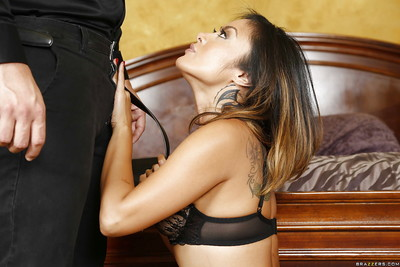 Pretty Japanese MILF Kaylani Lei giving dick sucking for spunk facial