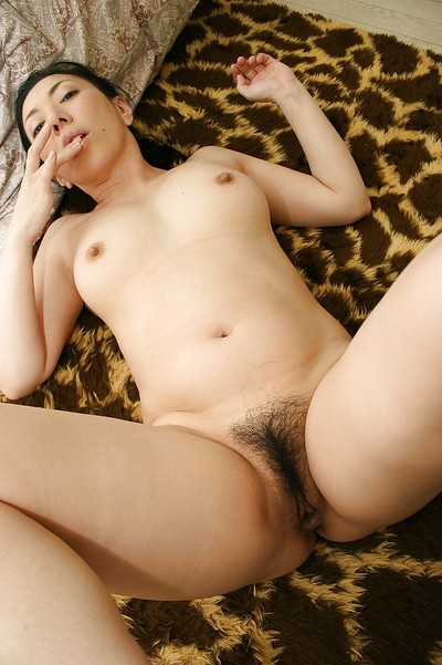 Raunchy Chinese ripe lassie with curly love-cage Kimiko Yasue posing exposed