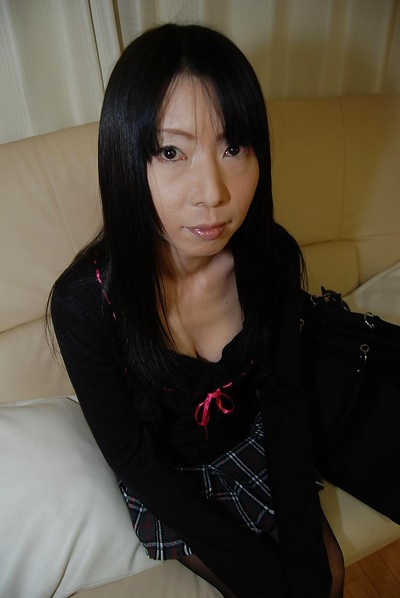 Boobsy japanese MILF with wavy cooter undressing and amplifying her legs