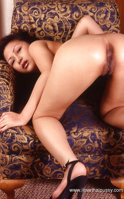 Want haired oriental gal on high heels exquisite off her underwear