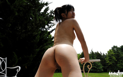 Stripped Chinese chicito with diminutive love melons and furry slit having liking outdoor