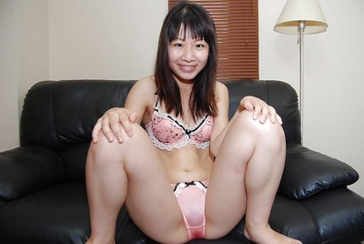 Smiley Chinese juvenile Miyuki Itou undressing and expposing her love-cage in close up