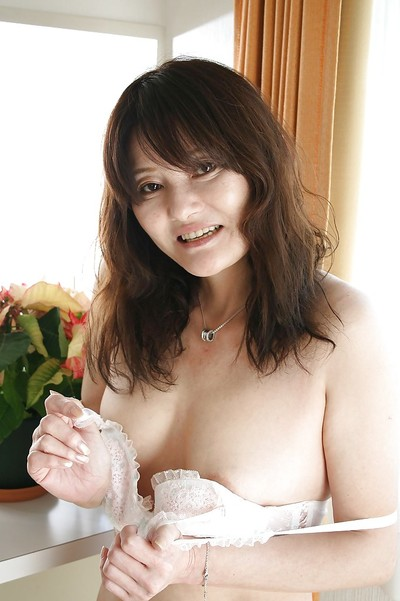 Eastern MILF Michiko Sudo undressing and vibing her trimmed cum-hole