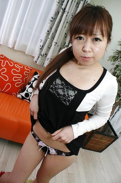 Dirty oriental juvenile Yuka Takagi sluggishly uncovering her diminutive distorts