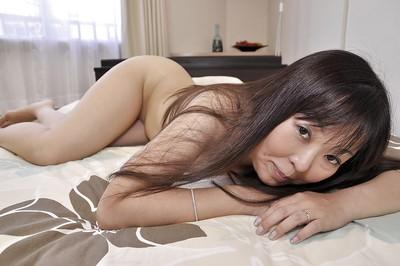 Chinese MILF Hideko Okura undressing and exposing her soaked gentile in close up