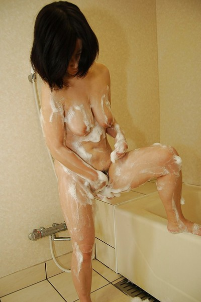 Sassy Japanese full-grown lady with unshaven muff and worthy apples glorious bath