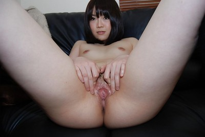 Smiley oriental satisfying Arisa Maeda undressing and expanding under lips