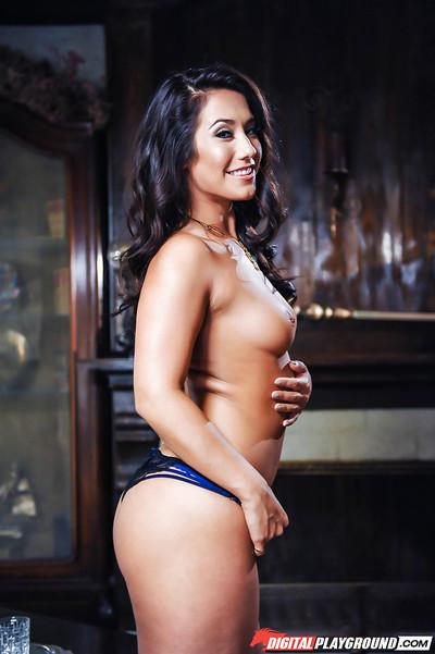 Hot dark hair pornstar Eva Lovia posing solo in her shorts