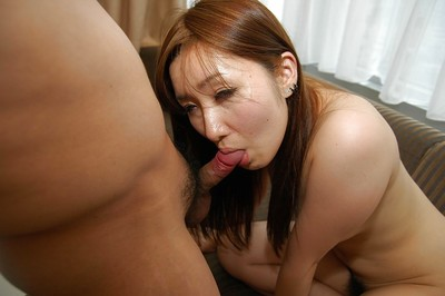 Spectacular Japanese youthful Shiho Kitahara gives head and gains her unshaved wet crack shafted