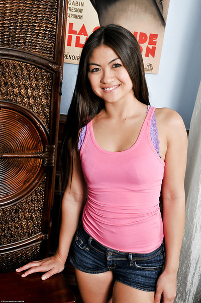 Sheen adolescent Chinese gal Mika Kim lets slip her juicy smooth head chocha