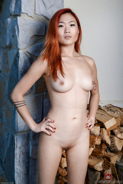Redhead young solo gal Lea Hart baring wonderful Oriental front bumpers and shiny on top fur pie