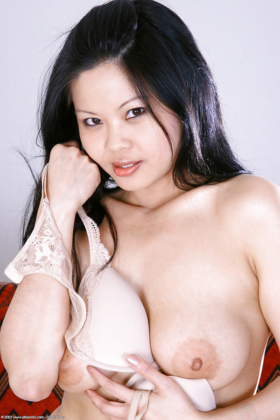 Attractive Chinese young Ayane letting fine usual love bubbles blast from shirt