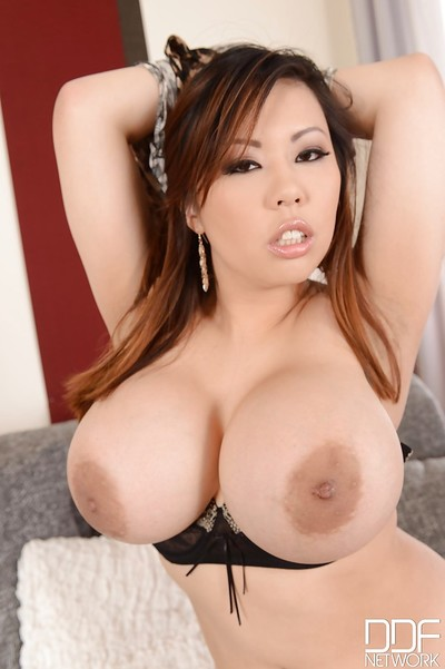 Japanese milf with enormous milk sacks Tigerr Benson is showing her boobies