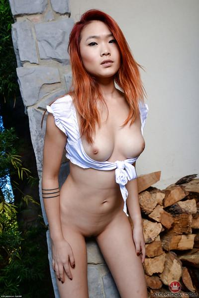 Redheaded Oriental 1st timer Lea Hart flashing upskirt schoolgirl slit