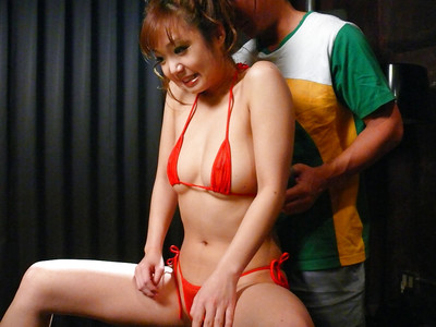 Jap babe Mizuki Ishikawa freeing giant woman passports from bikini ahead of beaver toying