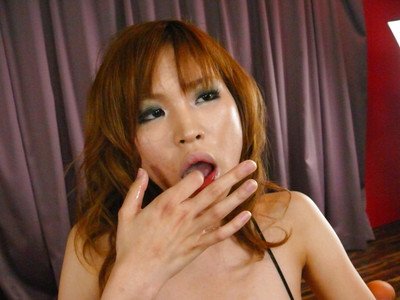 Redheaded Japanese cutie Ai Sakura eating semen later bj and tit fuck