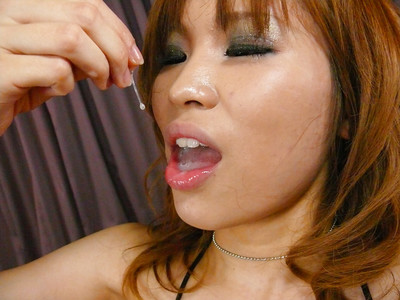 Redheaded Japanese cutie Ai Sakura eating semen later bj and tit fuck