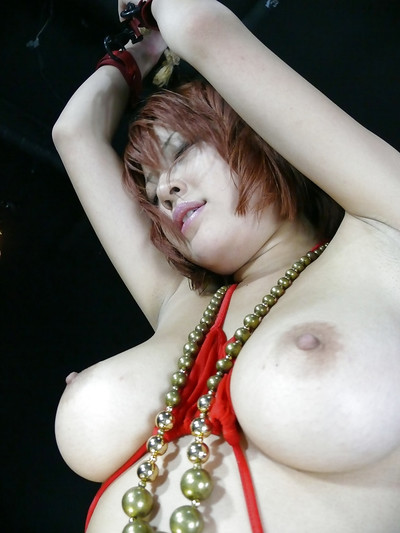 Japanese adolescent releases vast wobblers from bikini ahead of fingering furry cunt