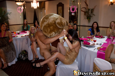 Dancing bear has his phallus sucked nicely by covered ladies on a munch
