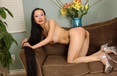 Juggy oriental MILF Ange Venus gives head and gains her smooth on top fur pie slammed