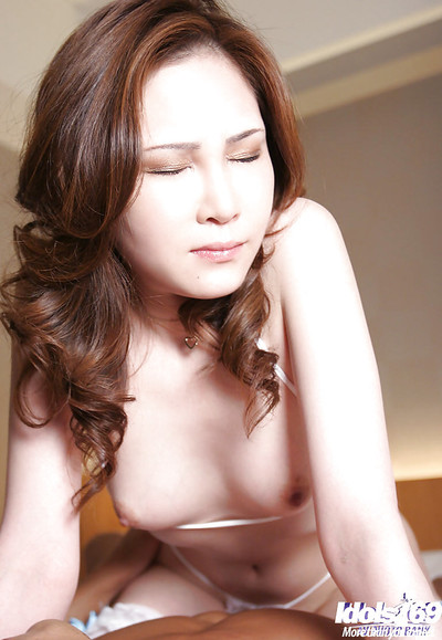 Lusty Japanese lady in underclothes and  gains owned hardcore