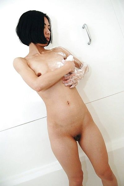 Chinese MILF with clammy booty Makoto Abe lovely baths and teasing her hirsute gash