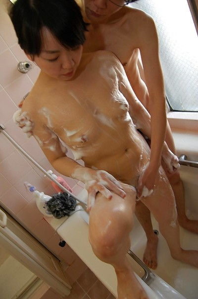 Sassy Japanese MILF has some soapy foreplay getting pleasure with a sexually intrigued stallion